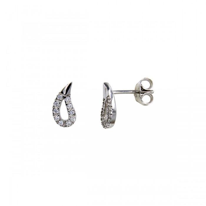 Σκουλαρίκια λευκόχρυσα 14Κ με ζιργκόν πέτρες - S1013