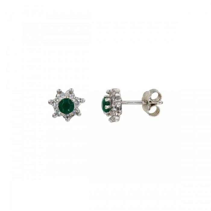 Σκουλαρίκια λευκόχρυσα 14Κ με ζιργκόν πέτρες - S1015