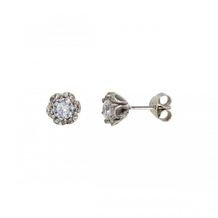 Σκουλαρίκια λευκόχρυσα 14Κ με ζιργκόν πέτρες - S1016
