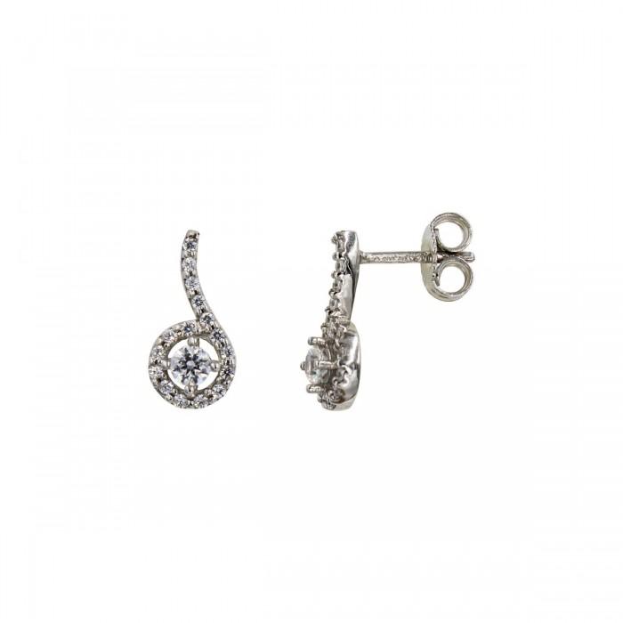 Σκουλαρίκια λευκόχρυσα 14Κ με ζιργκόν πέτρες - S1018