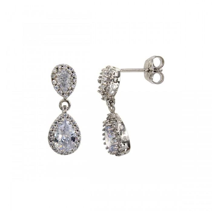 Σκουλαρίκια κρεμαστά λευκόχρυσα 14Κ με ζιργκόν πέτρες - S1019