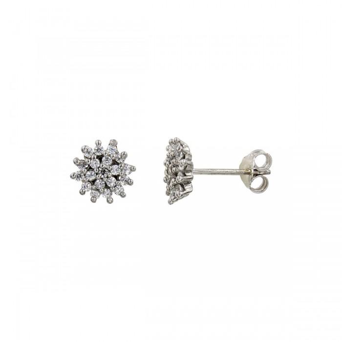 Σκουλαρίκια λευκόχρυσα 14Κ με ζιργκόν πέτρες - S1020