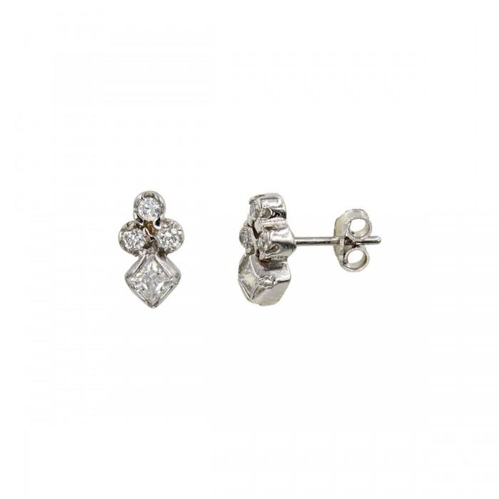 Σκουλαρίκια λευκόχρυσα 14Κ με ζιργκόν πέτρες - S1022