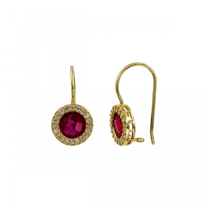 Σκουλαρίκια κρεμαστά χρυσά 14Κ με ζιργκόν πέτρες - S1026