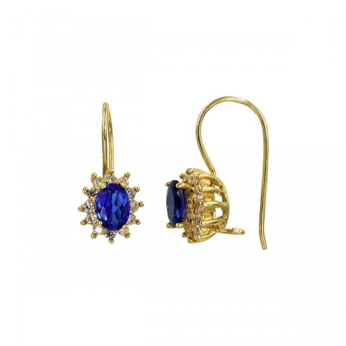 Σκουλαρίκια κρεμαστά χρυσά 14Κ με ζιργκόν πέτρες - S1027