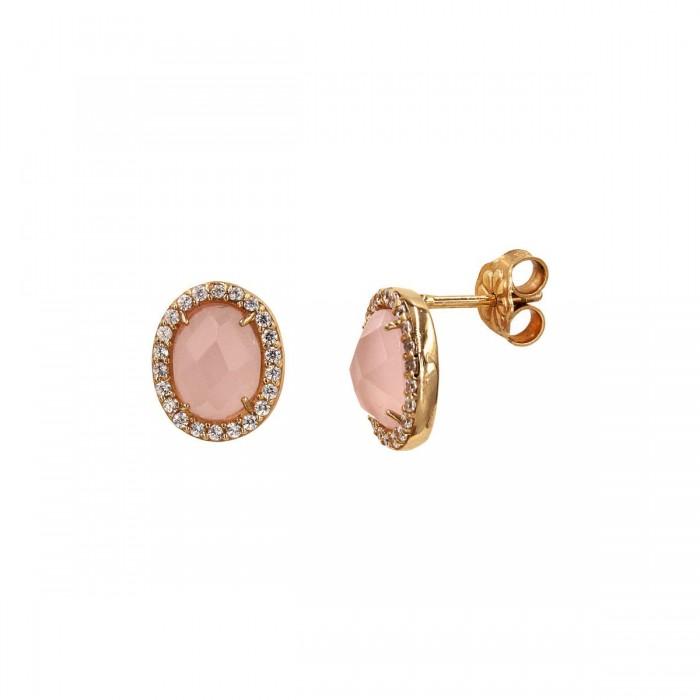 Σκουλαρίκια ροζ χρυσά 14Κ με ζιργκόν πέτρες - S1028