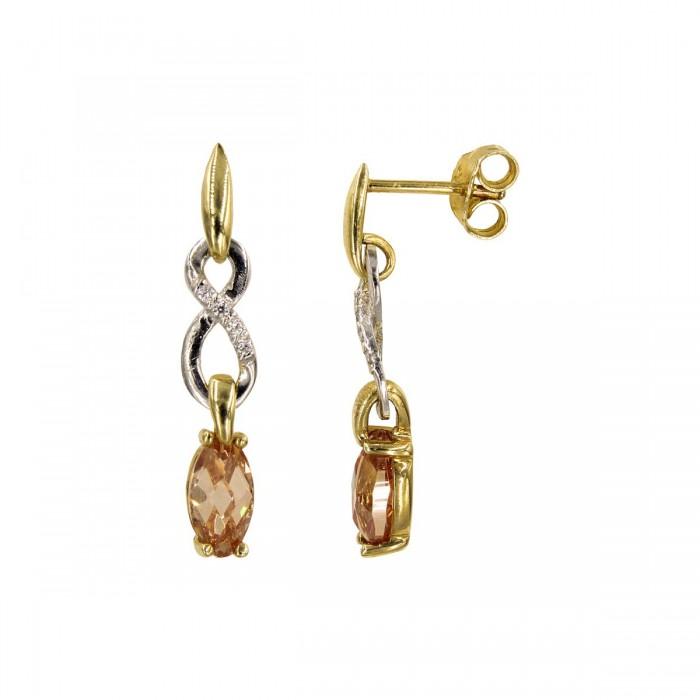Σκουλαρίκια κρεμαστά δίχρωμα 14Κ με ζιργκόν πέτρες - S1029