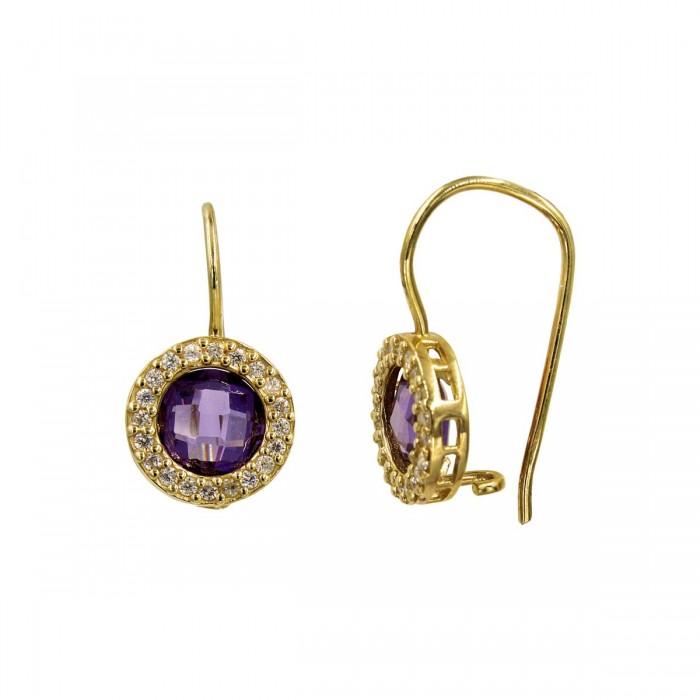 Σκουλαρίκια κρεμαστά χρυσά 14Κ με ζιργκόν πέτρες - S1030
