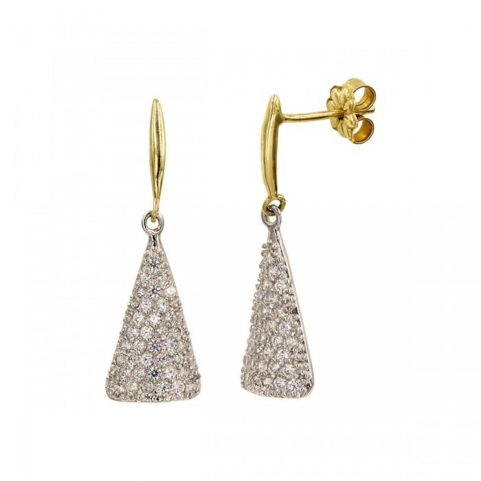 Σκουλαρίκια κρεμαστά δίχρωμα 14Κ με ζιργκόν πέτρες - S1031