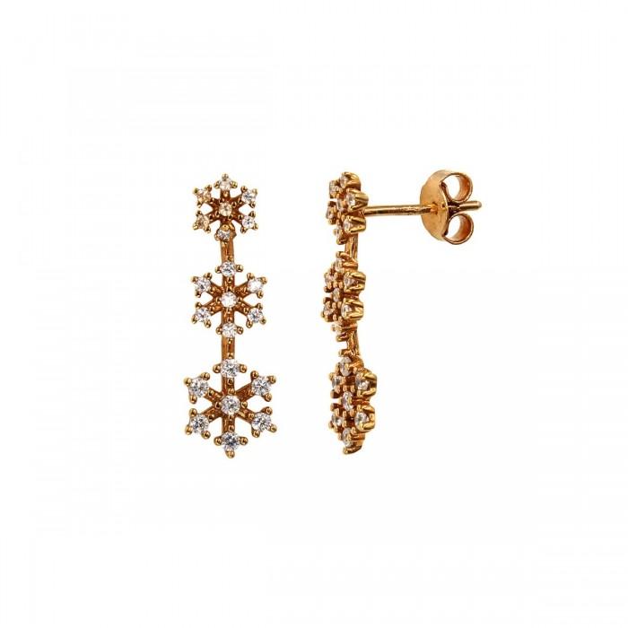 Σκουλαρίκια κρεμαστά ροζ χρυσό 14Κ με ζιργκόν πέτρες - S1032