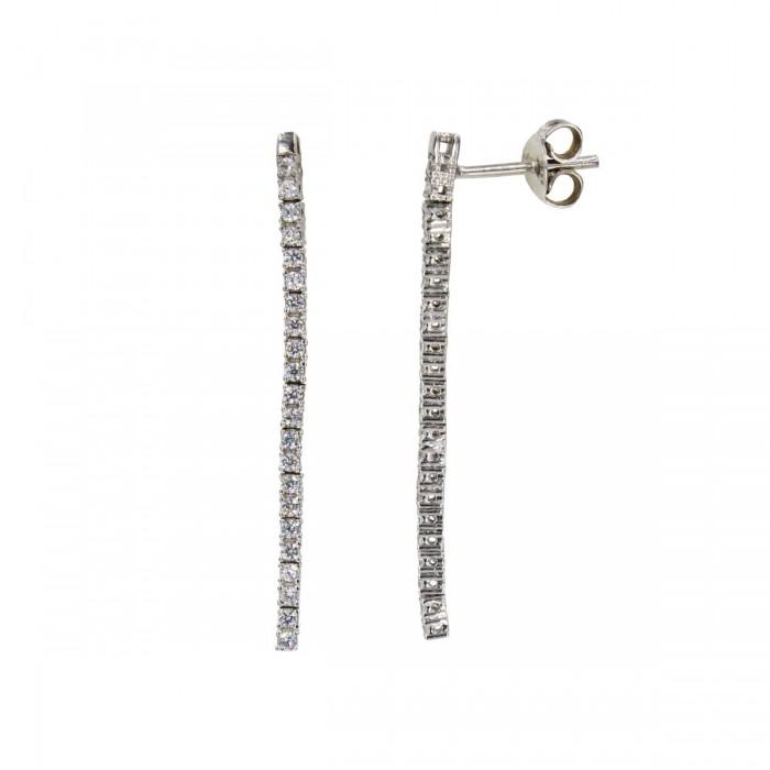 Σκουλαρίκια κρεμαστά λευκόχρυσα 14Κ με ζιργκόν πέτρες - S1035