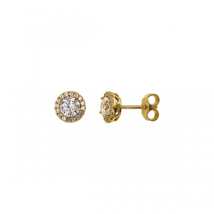 Σκουλαρίκια ροζέτες χρυσά 14Κ με ζιργκόν πέτρες - S1036K
