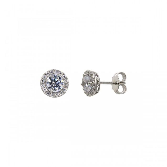 Σκουλαρίκια ροζέτες λευκόχρυσα 14Κ με ζιργκόν πέτρες - S1036L