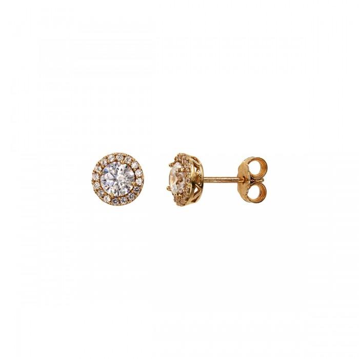 Σκουλαρίκια ροζέτες ροζ χρυσά 14Κ με ζιργκόν πέτρες - S1036R