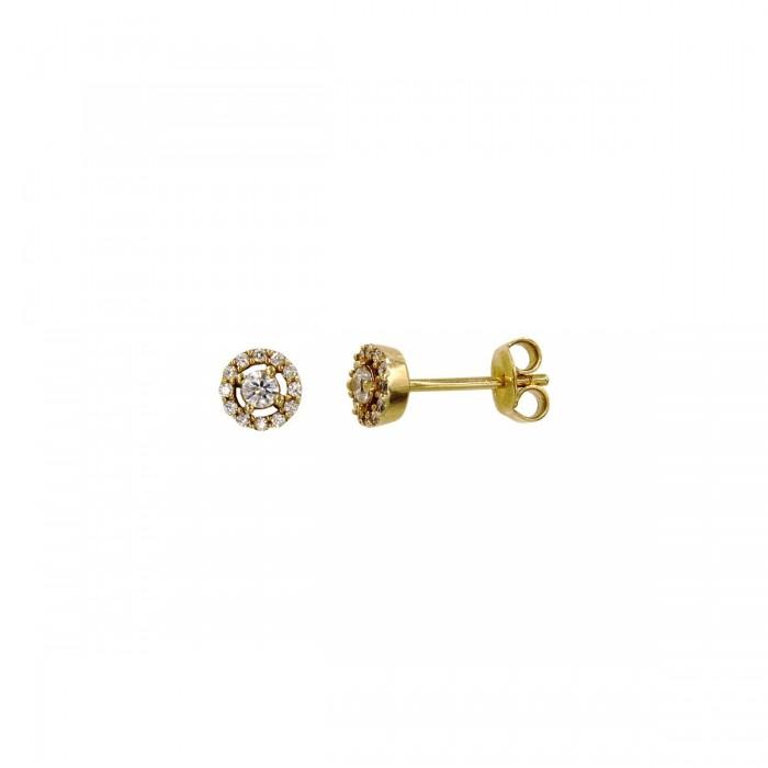 Σκουλαρίκια ροζέτα χρυσά 14Κ με ζιργκόν πέτρες - S1038