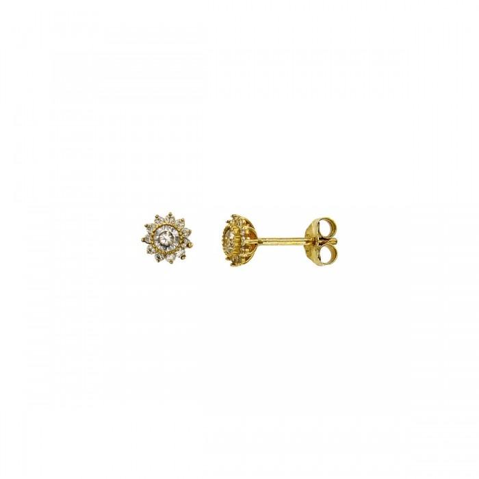 Σκουλαρίκια ροζέτα χρυσά 14Κ με ζιργκόν πέτρες - S1039