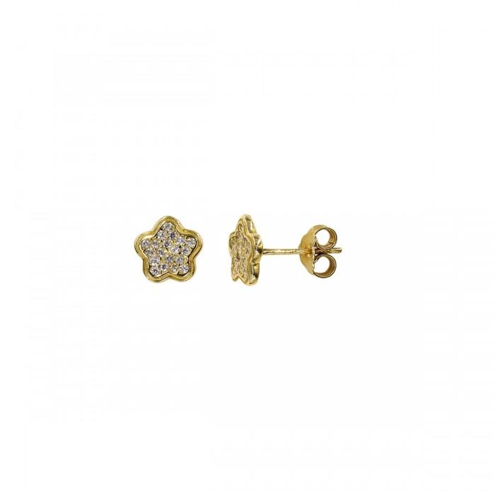 Σκουλαρίκια χρυσά 14Κ με ζιργκόν πέτρες - S1041
