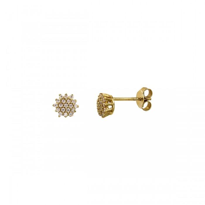 Σκουλαρίκια χρυσά 14Κ με ζιργκόν πέτρες - S1042
