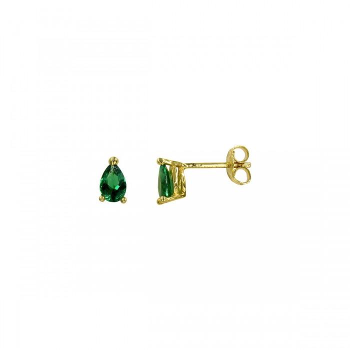 Σκουλαρίκια χρυσά 14Κ με ζιργκόν πέτρα - S1048
