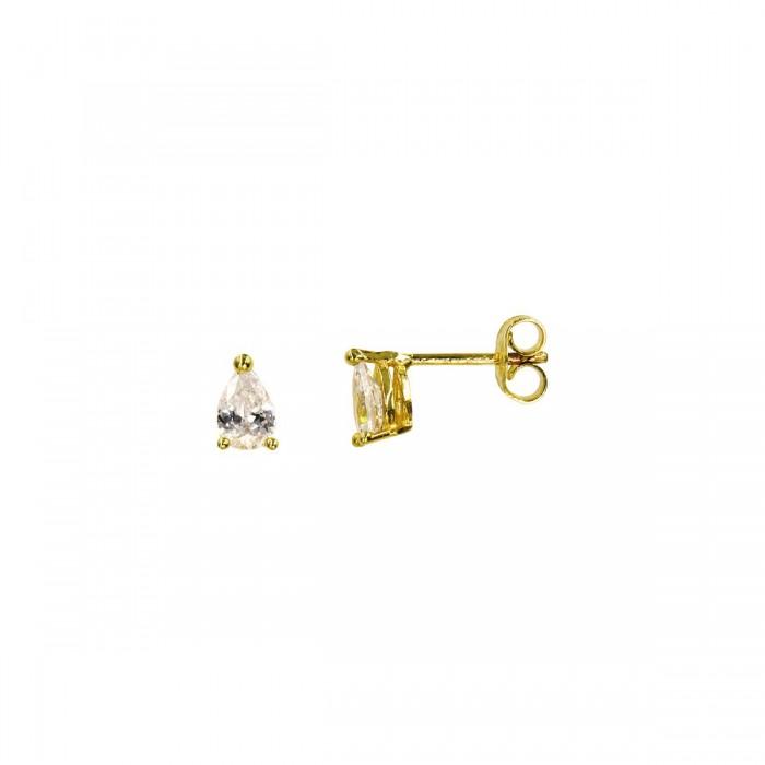 Σκουλαρίκια χρυσά 14Κ με ζιργκόν πέτρα - S1049