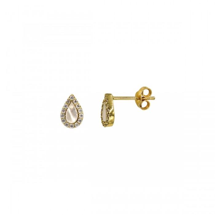 Σκουλαρίκια δάκρυ χρυσά 14Κ με ζιργκόν πέτρες - S1051