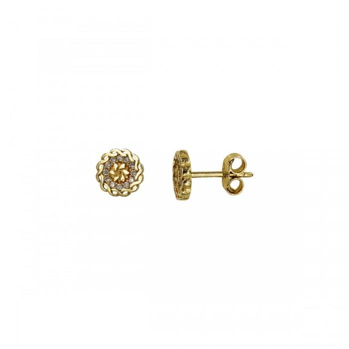 Σκουλαρίκια χρυσά 14Κ με ζιργκόν πέτρες - S1052