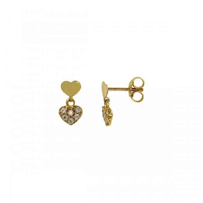 Σκουλαρίκια καρδιές χρυσά 14Κ με ζιργκόν πέτρες - S1053