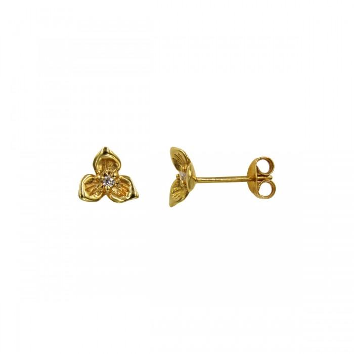 Σκουλαρίκια λουλούδια χρυσά 14Κ με ζιργκόν πέτρες - S1056