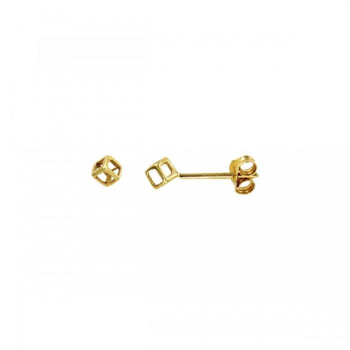 Σκουλαρίκια κύβος χρυσά 14Κ - S1057