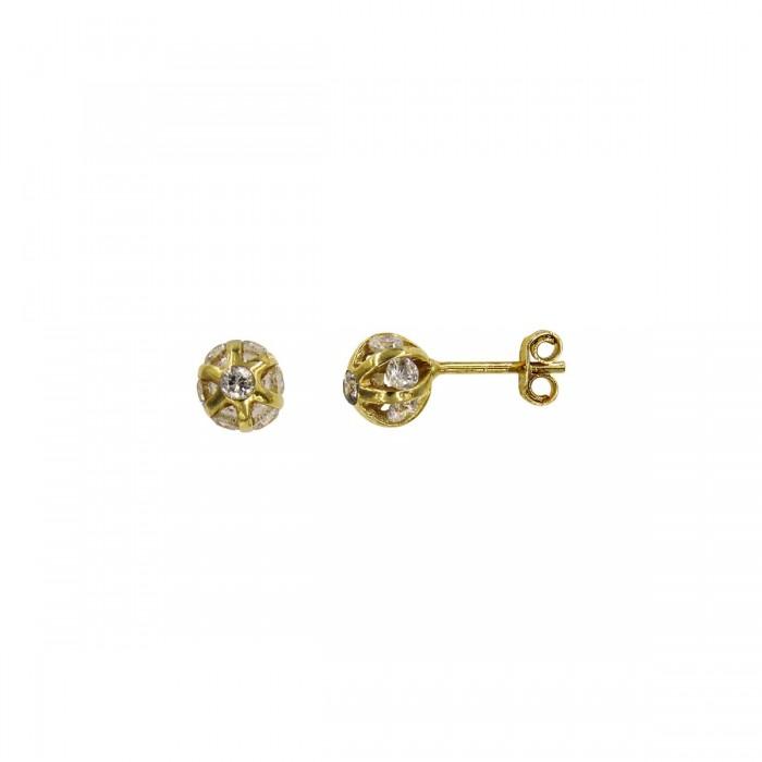 Σκουλαρίκια χρυσά 14Κ με ζιργκόν πέτρες - S1062