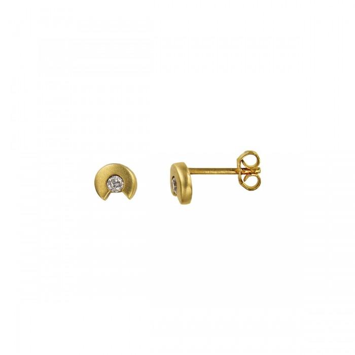 Σκουλαρίκια χρυσά 14Κ με ζιργκόν πέτρες - S1064