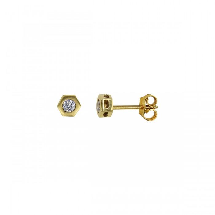 Σκουλαρίκια χρυσά 14Κ με ζιργκόν πέτρες - S1065
