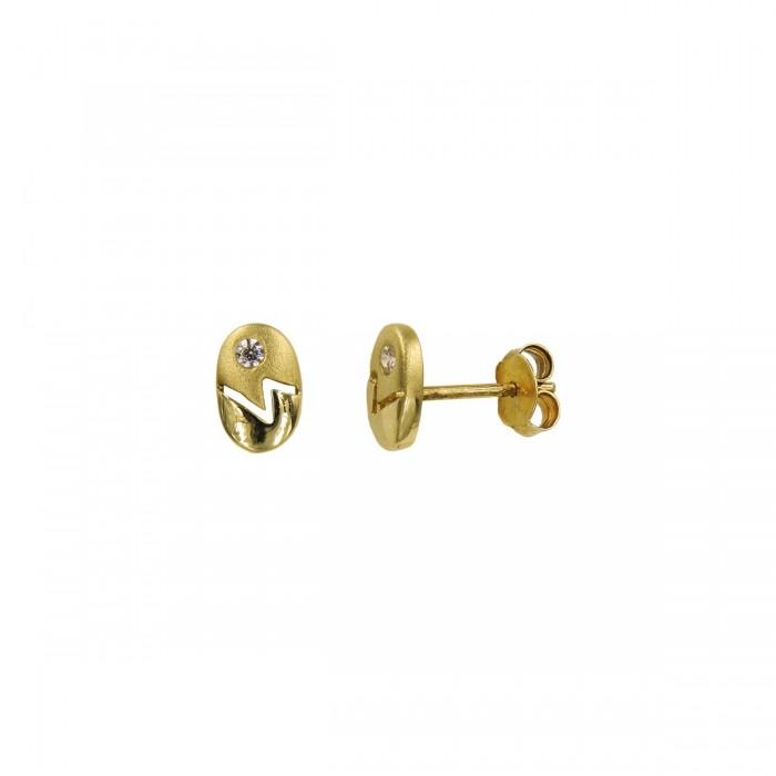 Σκουλαρίκια χρυσά 14Κ με ζιργκόν πέτρες - S1066