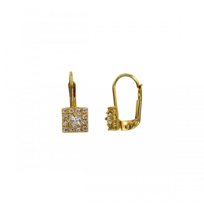 Σκουλαρίκια κρεμαστά χρυσά 14Κ με ζιργκόν πέτρες - S1071