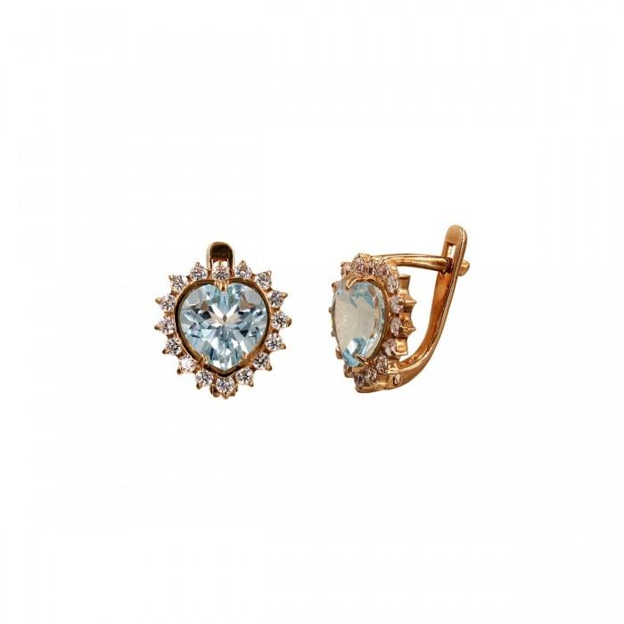 Σκουλαρίκια κρεμαστά ροζ χρυσά 14Κ με ζιργκόν πέτρες - S1073