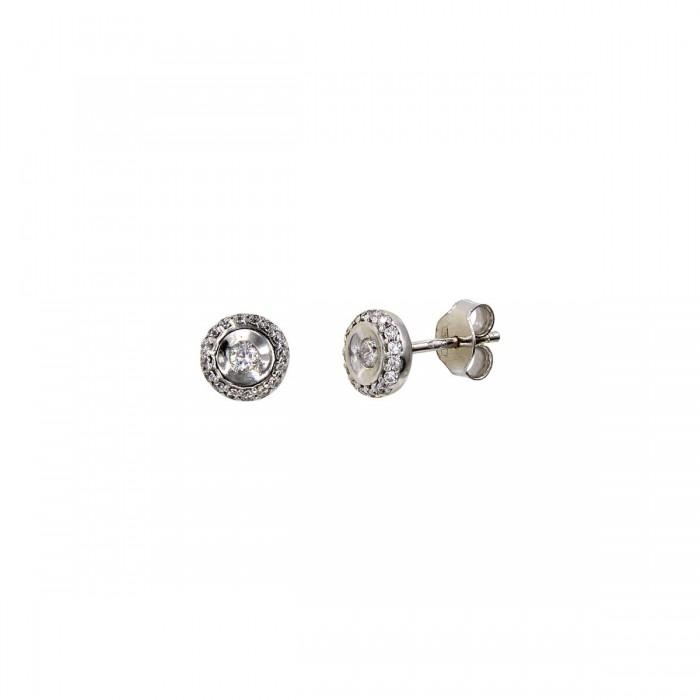 Σκουλαρίκια λευκόχρυσα 14Κ με ζιργκόν πέτρες - S1077