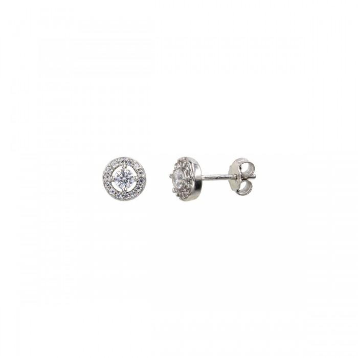 Σκουλαρίκια ροζέτες λευκόχρυσα 14Κ με ζιργκόν πέτρες - S1078
