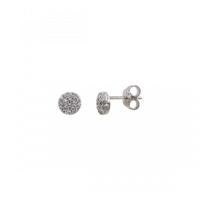 Σκουλαρίκια λευκόχρυσα 14Κ με ζιργκόν πέτρες - S1079