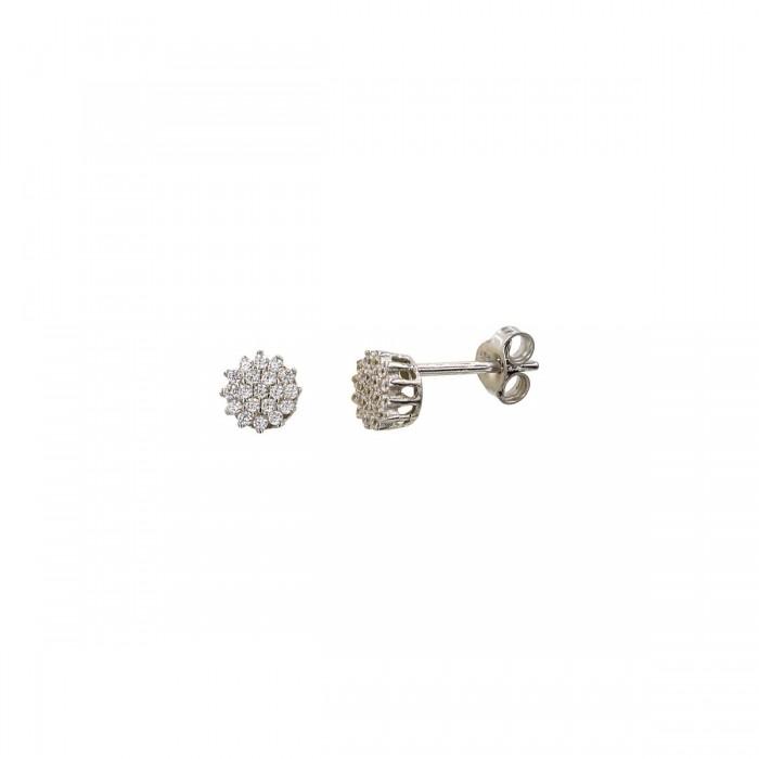 Σκουλαρίκια λευκόχρυσα 14Κ με ζιργκόν πέτρες - S1081