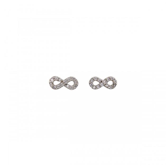 Σκουλαρίκια άπειρο λευκόχρυσα 14Κ με ζιργκόν πέτρες - S1084