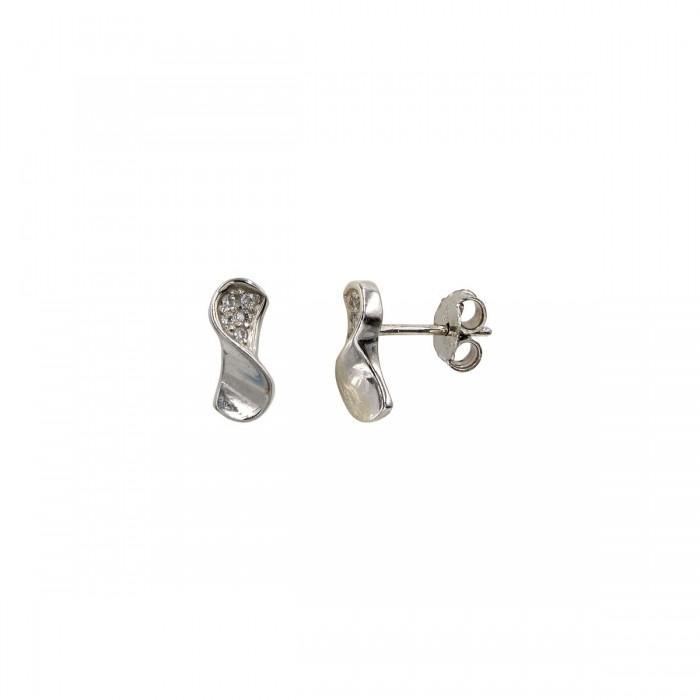 Σκουλαρίκια λευκόχρυσα 14Κ με ζιργκόν πέτρες - S1085