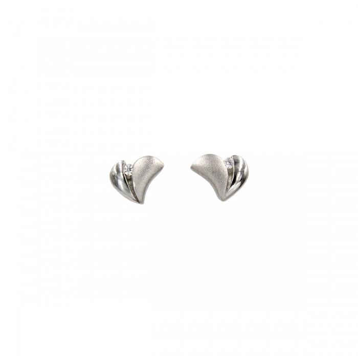 Σκουλαρίκια καρδιές λευκόχρυσα 14Κ με ζιργκόν πέτρες - S1088