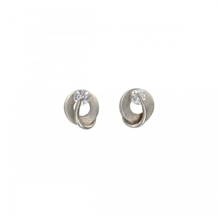 Σκουλαρίκια λευκόχρυσα 14Κ με ζιργκόν πέτρες - S1091