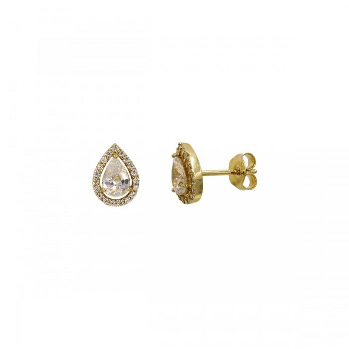 Σκουλαρίκια δάκρυ χρυσά 14Κ με ζιργκόν πέτρες - S1096