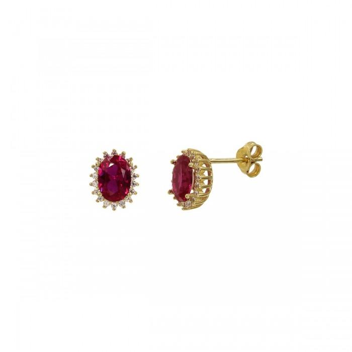 Σκουλαρίκια χρυσά 14Κ με ζιργκόν πέτρες - S1097