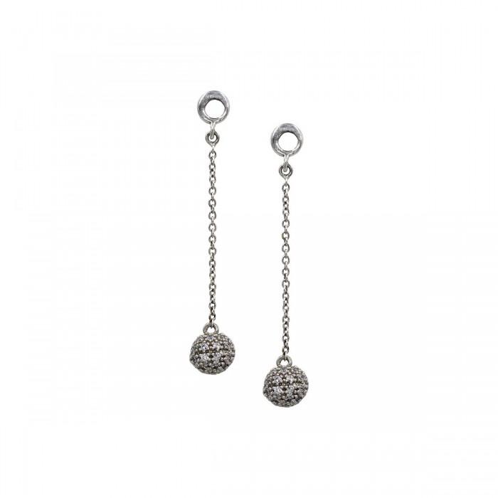 Σκουλαρίκια κρεμαστά λευκόχρυσα 14Κ με ζιργκόν πέτρες - S1099