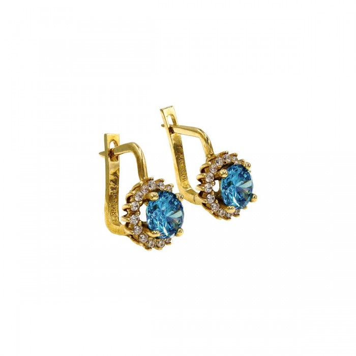 Σκουλαρίκια κρεμαστά χρυσά 14Κ με ζιργκόν πέτρες - S1105