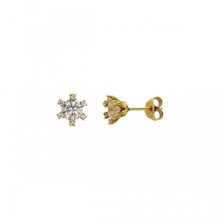 Σκουλαρίκια χρυσά 14Κ με ζιργκόν πέτρες - S1119K