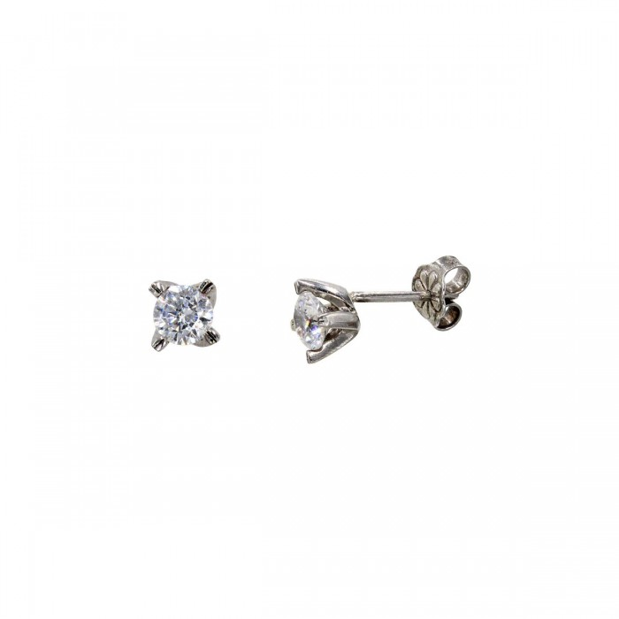 Σκουλαρίκια λευκόχρυσα 14Κ με ζιργκόν πέτρες - S1120