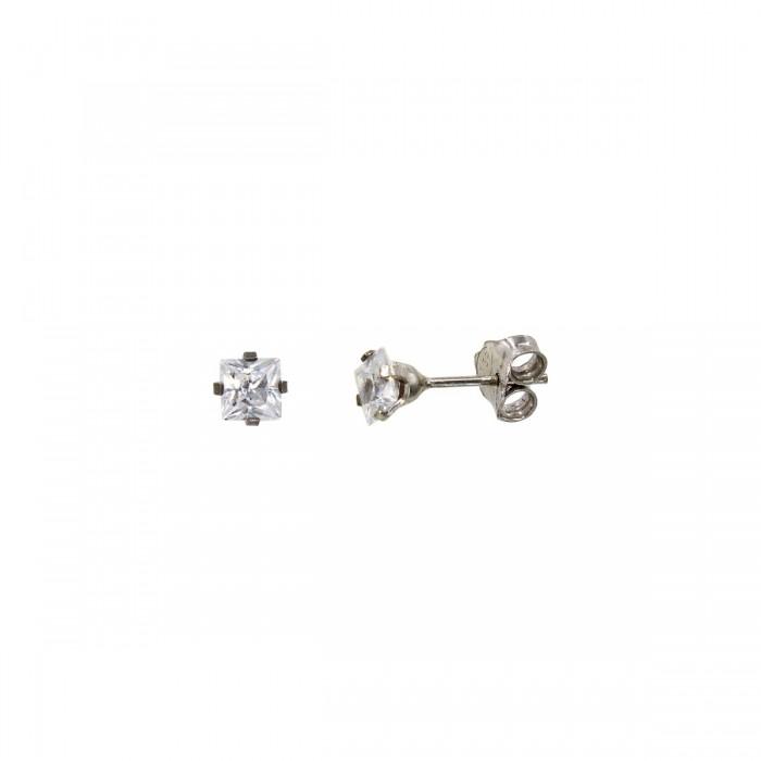 Σκουλαρίκια λευκόχρυσα 14Κ με ζιργκόν πέτρες - S1127L